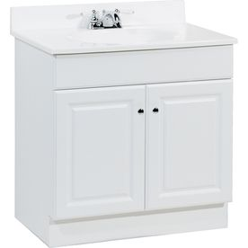 Project Source White Integral Single Sink Bathroom Vanity With Simple 30 Bathroom Vanity With Top Design Inspiration