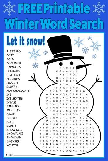 FREE Printable Winter Word Search! Pinterest Winter words, Word
