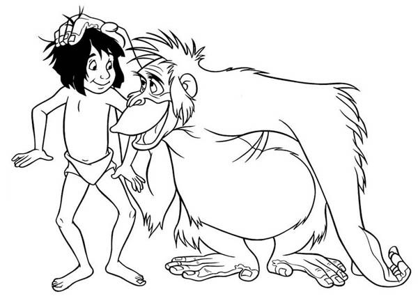 King Louie Rub Mowgli Head in Jungle Book Coloring Pages ...