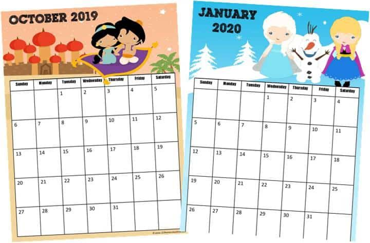 FREE Printable Free Printable Disney Calendar 2021 in 2020 ...