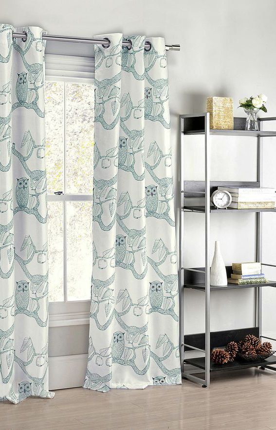 Teal Eve Owl Curtain Panel - Set of Two