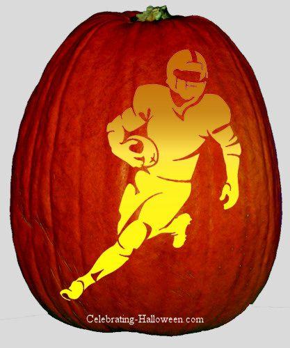 Running nfl football player pumpkin carving stencil