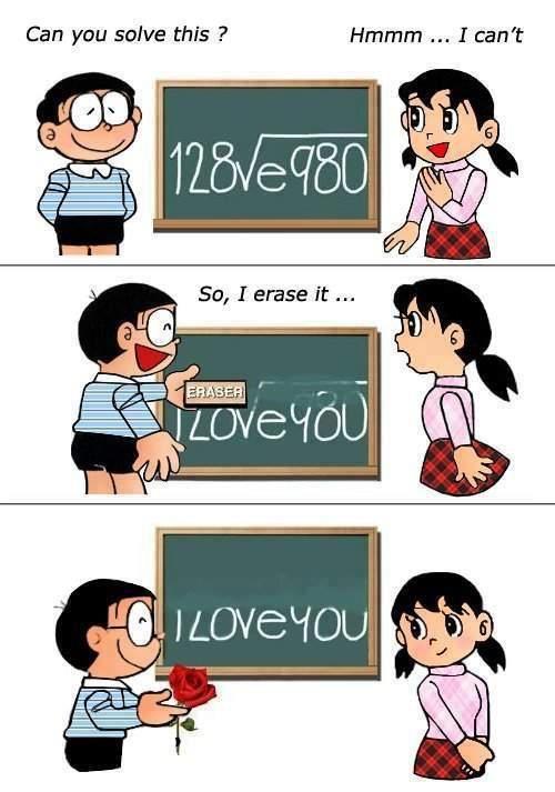 I love you - by Nobita and Shizuka chan (Doraemon)