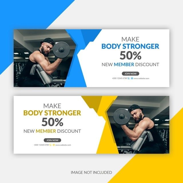Gym Fitness Banner Template Banner Brochure Flyer Png Transparent Clipart Image And Psd File For Free Download Facebook Cover Template Banner Template Vector Business Card