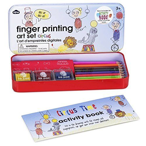 Fingerprinting Arts and Crafts Tin Set with Booklet - Circus Edition * Click image for more details.
