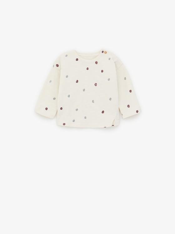 Pleated midi skirt in polka dot print , polka dots on