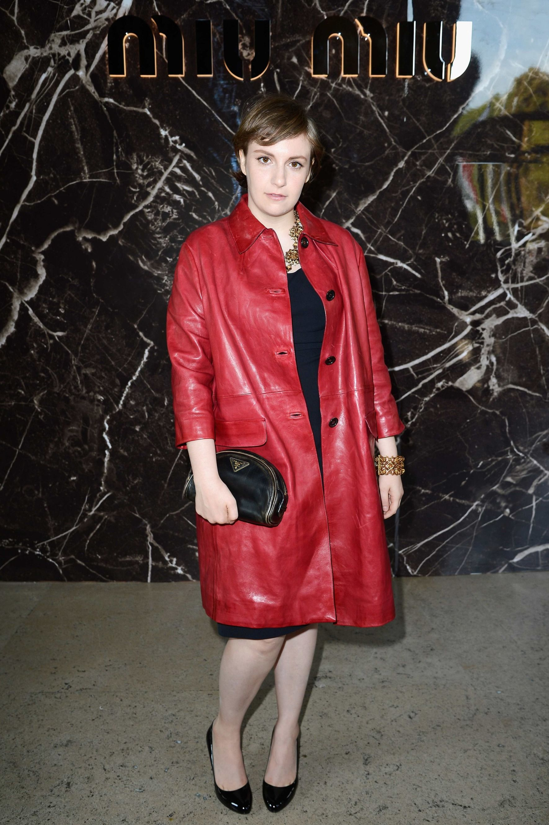 LOVE this leather jacket. Lena Dunham October 2, 2013 - The Cut