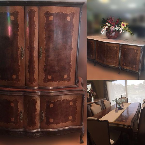 ANTIQUE FRENCH LOUIS STYLE DINING FURNITURE Table Chairs Buffet Cabinet Set For Sale In Houston TX