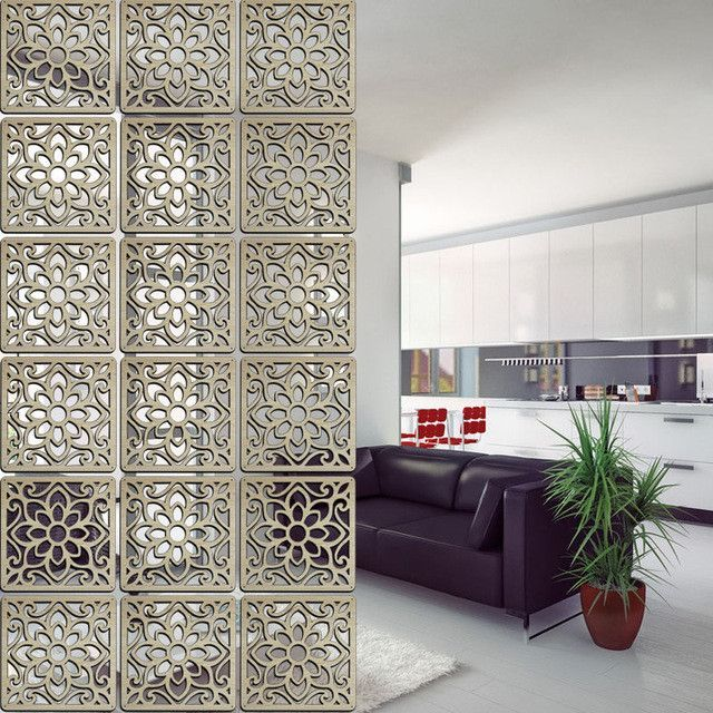Solid Wood Modern Tiles Minimalist Living Room Partition Shield Entrance Wall Hanging Bedroom Folding Panels Decorative