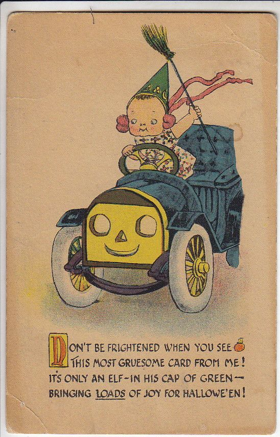Halloween greetings w cute girl driving car w face verse vintage vintage halloween card m4hsunfo