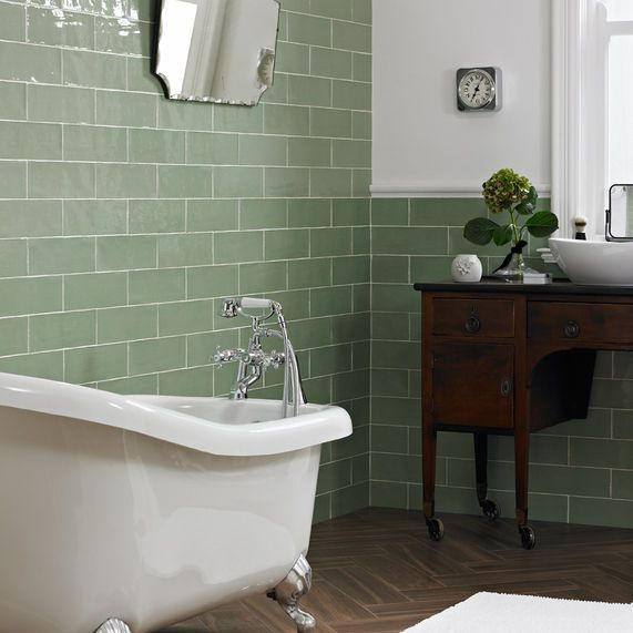 Piccadilly Sage Tiles 100 X 300mm Bathstore Green Tile Bathroom Green Bathroom Top Bathroom Design