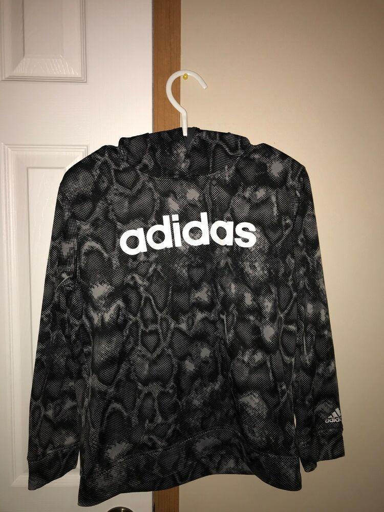 Adidas Boys Youth Camo Medium Hoodie Pull Over Hoodie Gray