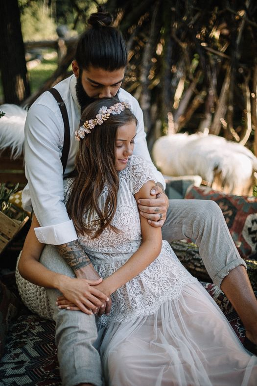Bohemian Hippie Love Wedding shot by Geckeler Photography in Bavaria with a Wedding VW Bully colored in mint |  #wedding #hippielove #boho #bohowedding #bohochic #bride #dress #groom #hip #weddingday #weddingphotography #bohemian #hippiebride #boholove #love #inspiration