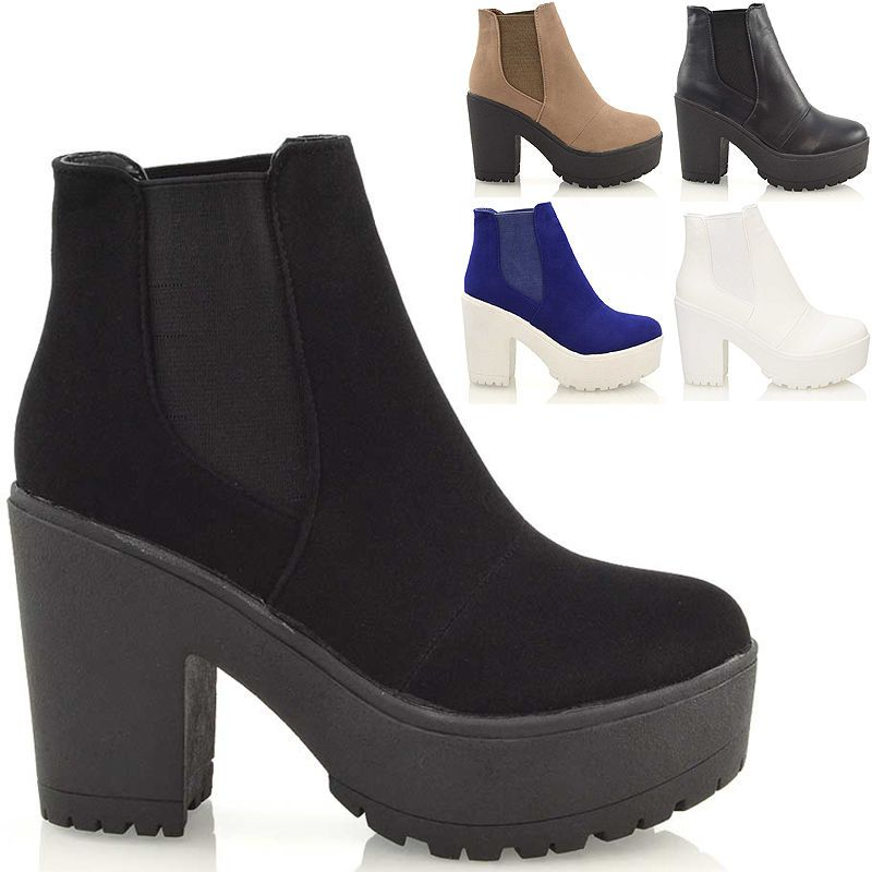 Womens ladies mid chunky block heel cleated chelsea biker ankle boots size