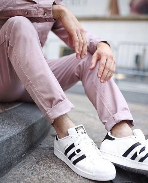 Bright White And Black Adidas Superstar Sneakers With Pastel Summer Spring  Pink Jeans And Matching Denim