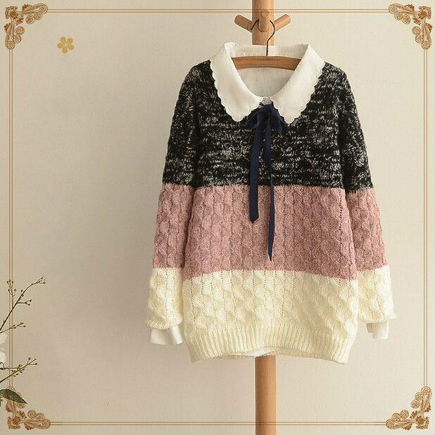 Fashion stripe gradient sweater pullover Cute Kawaii Harajuku - clothing sponsorship