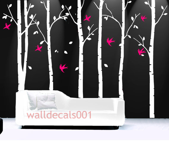 Tree Wall Decals wall Stickers wall decor,tree,decal,kids,baby,nursery,livingroom,bedroom,art - birds in birch forest - 6 100in birch trees