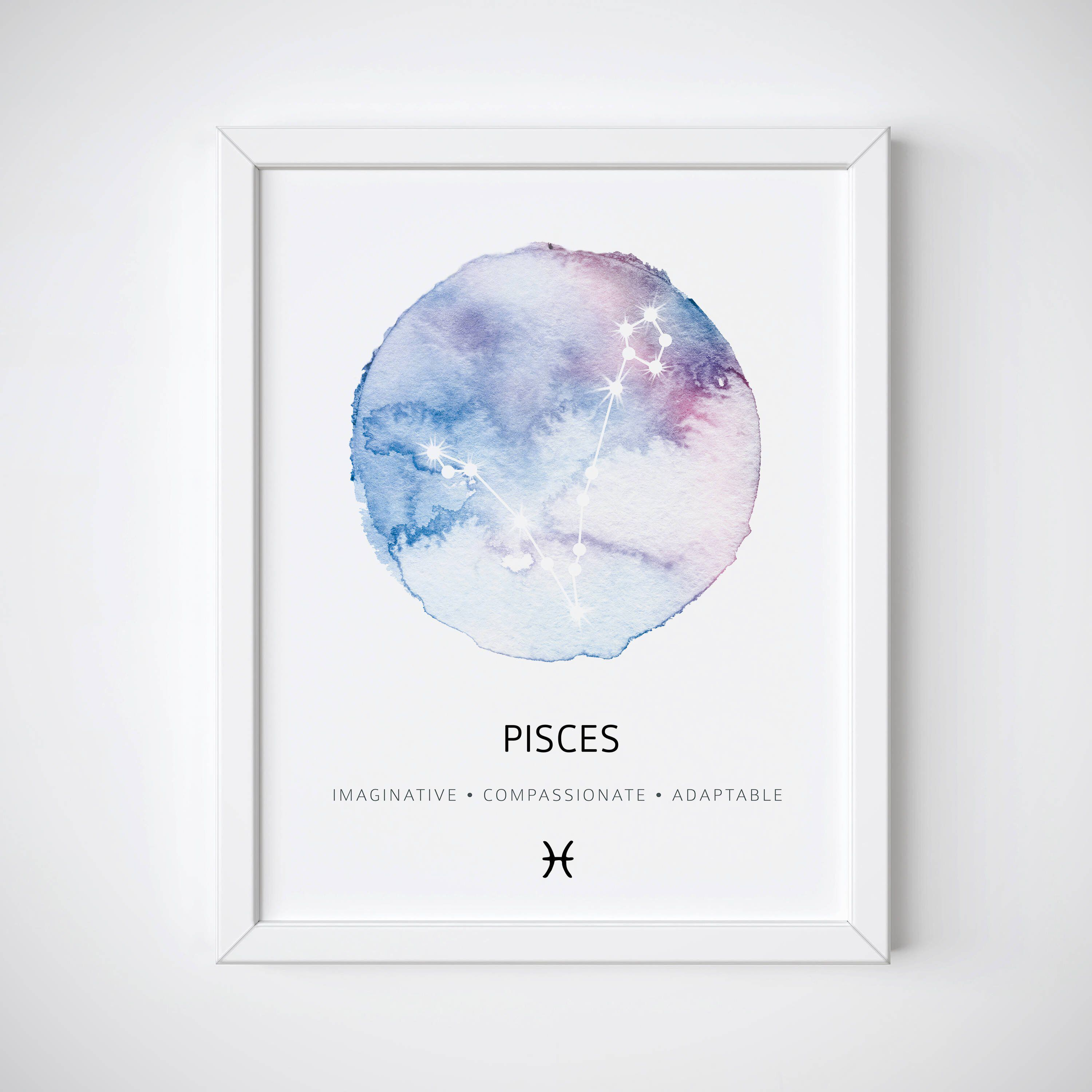 Astrology Gift Poster Star Sign Unframed Pisces Print Zodiac Constellation