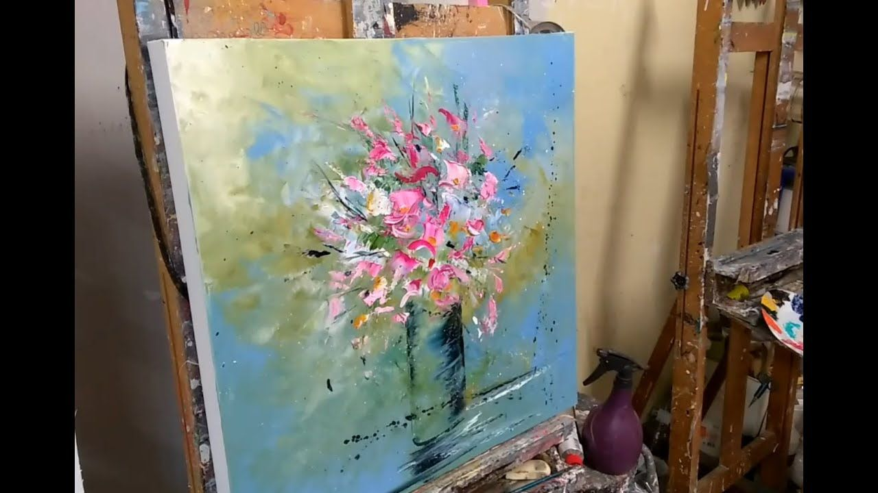 Utiliser Des Restes De Peinture Un Bouquet De Fleur Au Couteau
