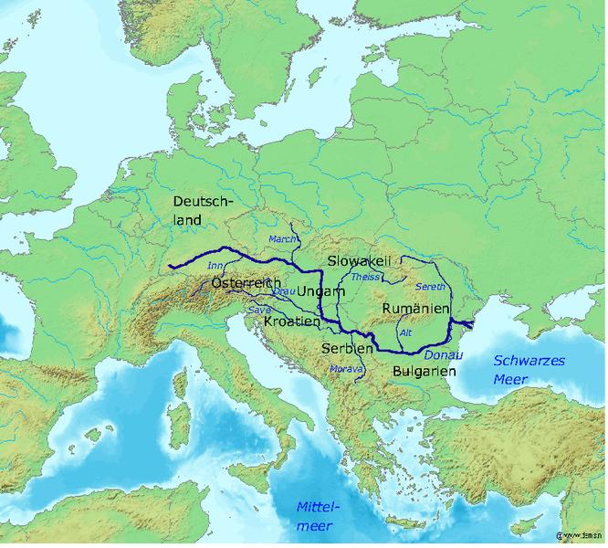 Danube River Map Of Europe.Map Of The Danube River Mapas Pinterest Rivers