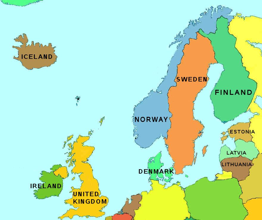 Map Of Northern Europe Map of Northern Europe – Map of North European Countries