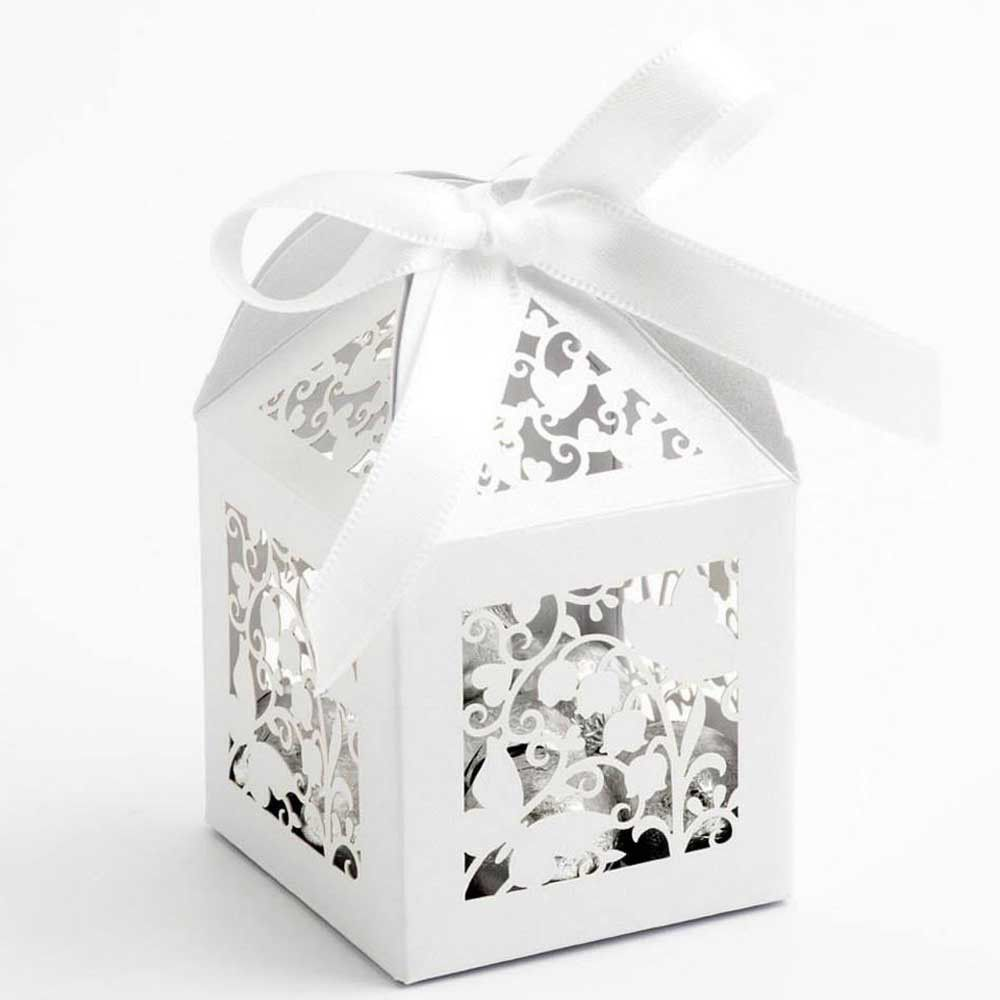 White Lasercut Wedding Favour Box with Filigree Butterflies (Pack of ...