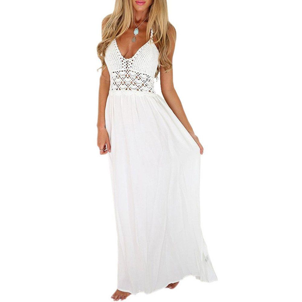 Womenus white sling vneck backless sexy sleeveless chiffon dress