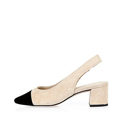 Cream and black suede slingback block heels $50.00