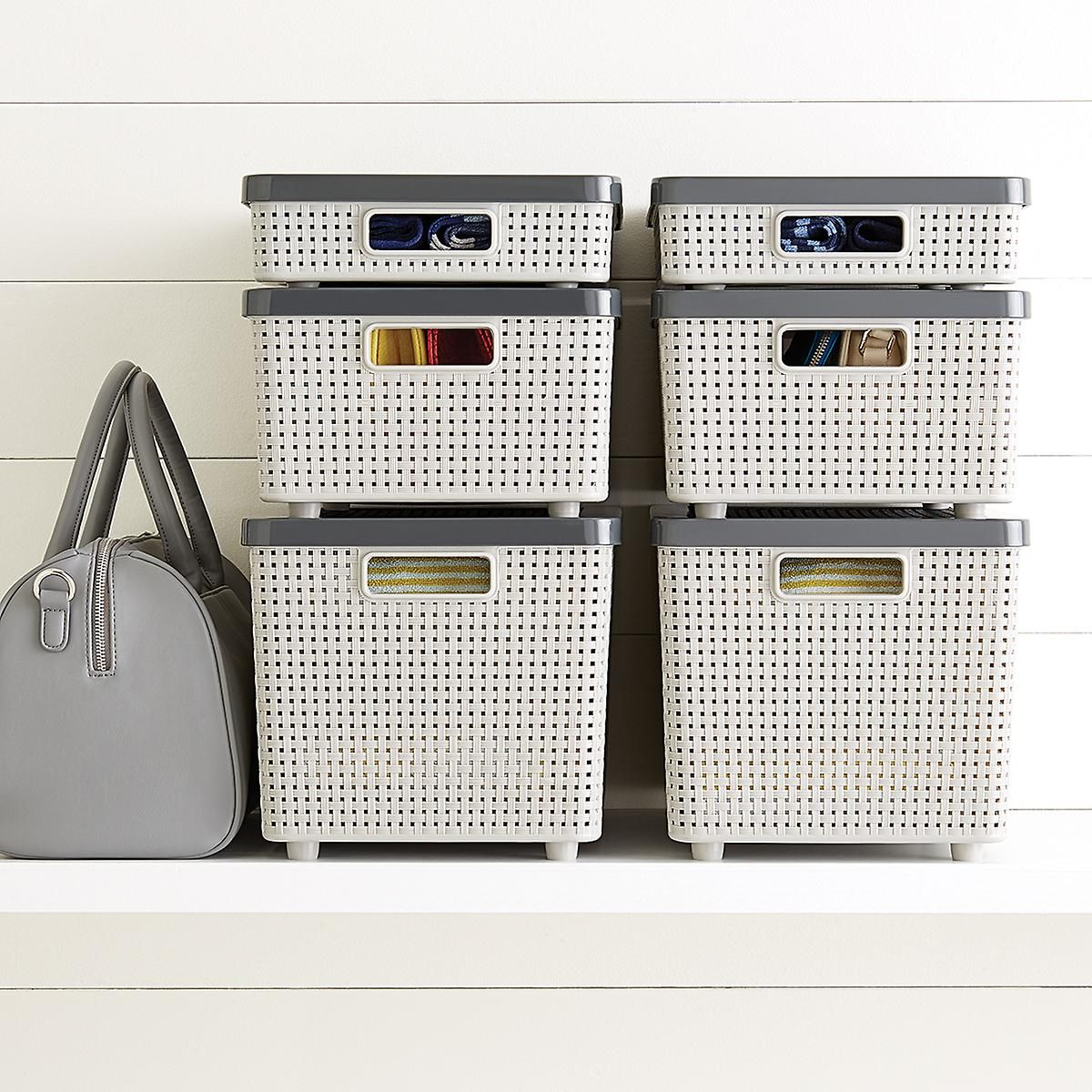 Grey Cottage Woven Storage Bins & Grey Cottage Woven Storage Bins | Storage Container store and Gray