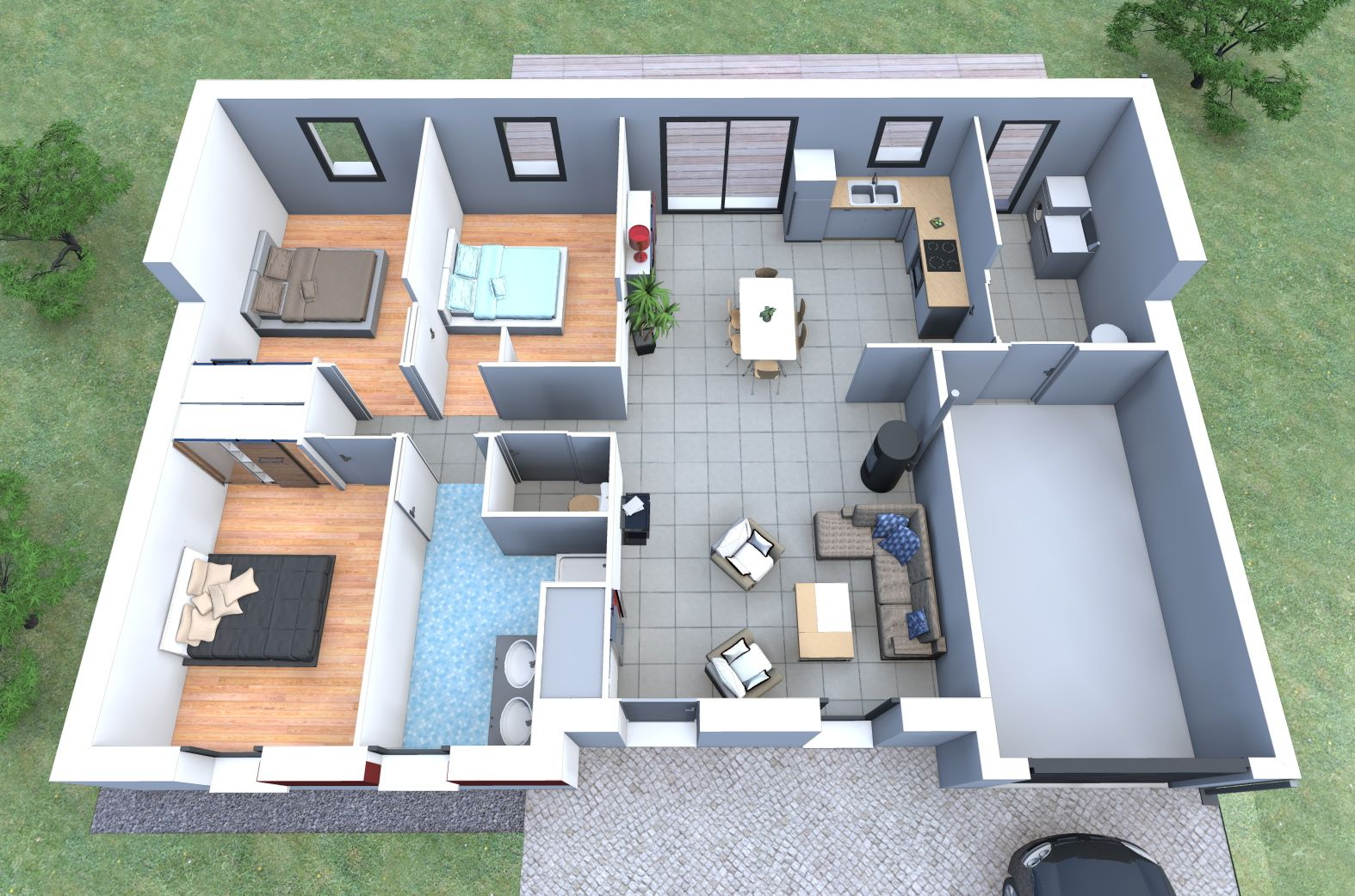 Inspiration de plan de maison 3 chambres garage alliance for Maison interieur 3d