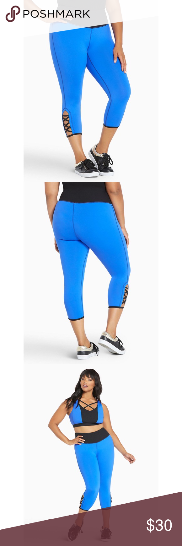 3de0d9681589fb Torrid Active Colorblock Strappy Cropped Legging Make your low-impact  workout pop with these colorblocked