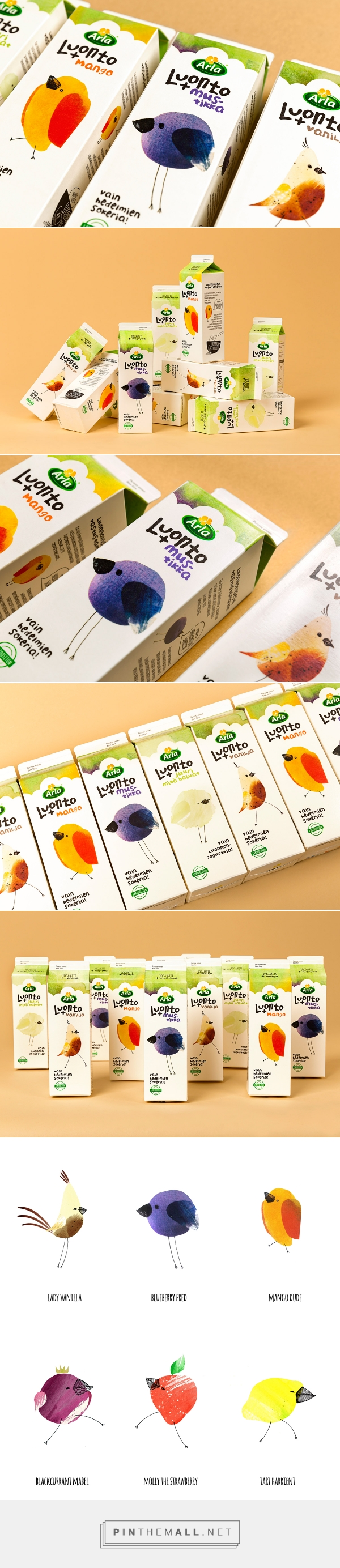 Arla Luonto+ Yoghurt Packaging labels design, Organic