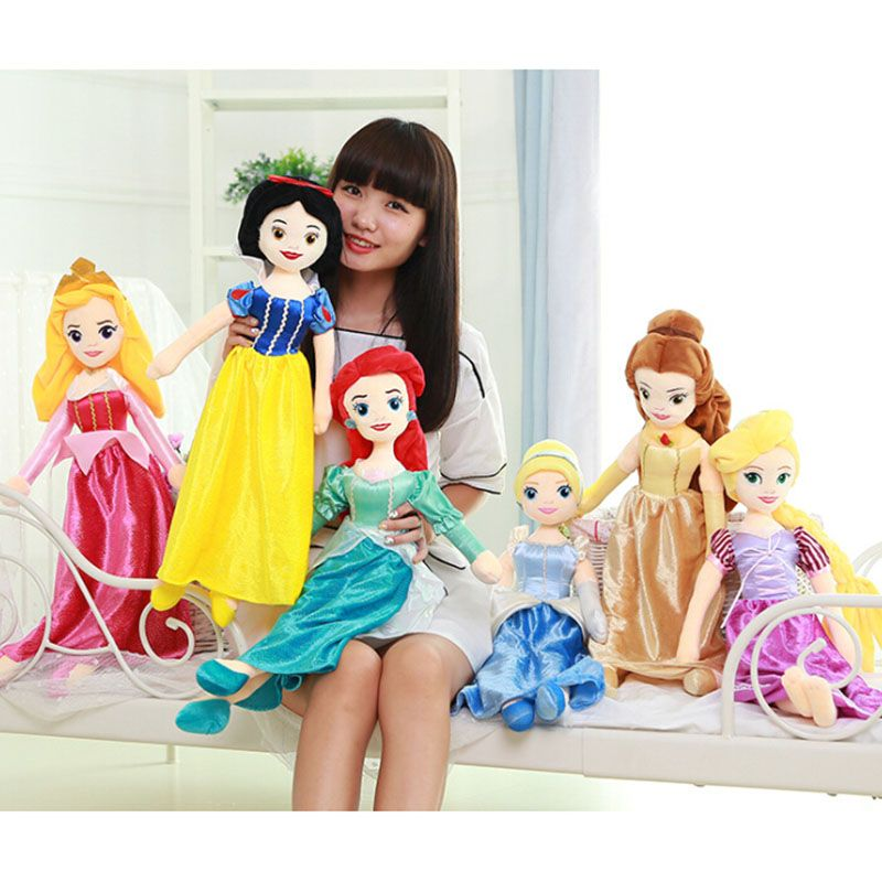 On Sale 65cm Princess Snow White Cinderella Ariel Belle Rapunzel Aurora  Plush Doll Toys Great Gift ea7ea6421eec