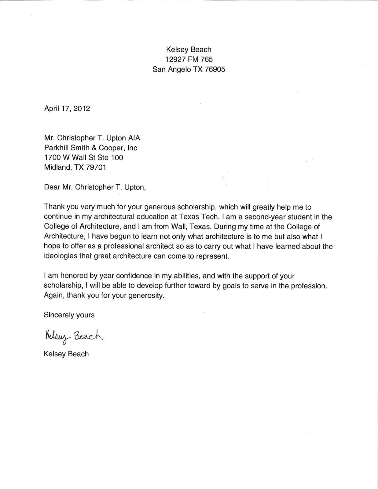 scholarships thank you letter