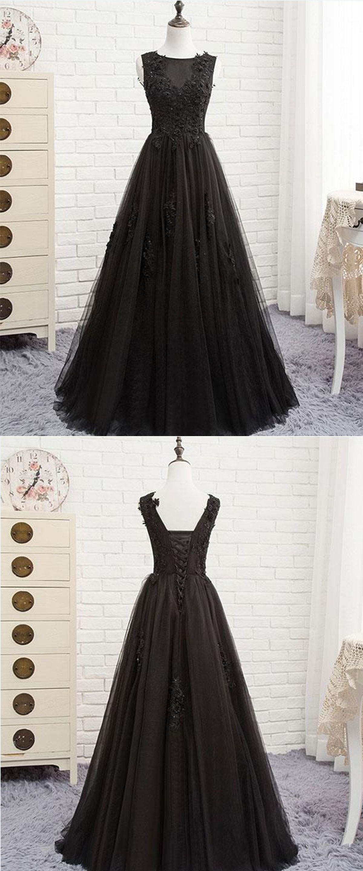 Unique black tulle scoop neck long halter prom dress long lace