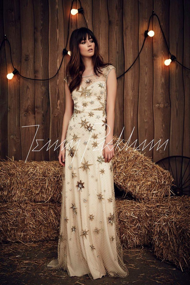 Jenny Packham Bridal Spring 2017 Jolene Dress With Star Embellishments: Gold Gypsy Wedding Dresses At Reisefeber.org
