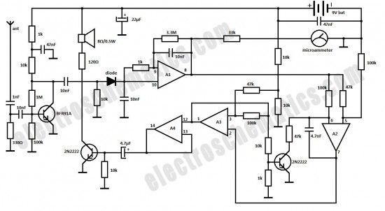 rf spy bug detector circuit schematic