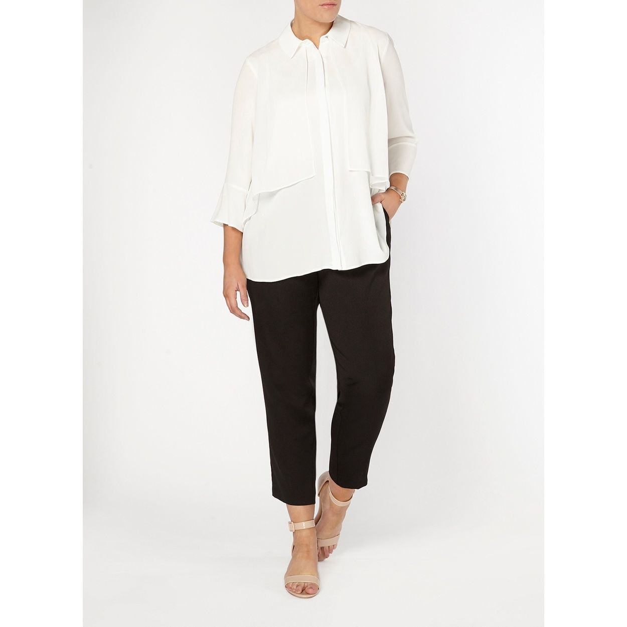 a851f10896b3d9 Evans ivory blouse with fluted cuffs and a double layer front panel ...