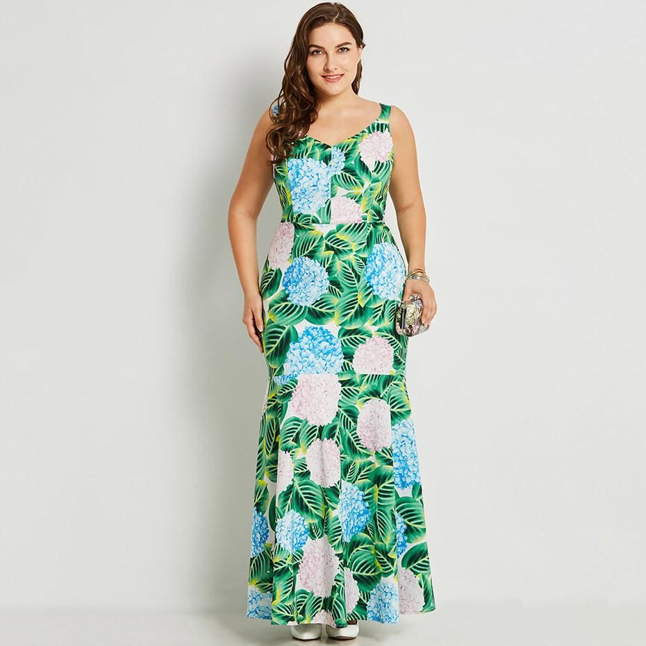 15f0e979311 Summer Sleeveless Maxi Dress Green Tropical Print Big Size Bodycon Dresses  2018 Party Evening Casual Plus Size Mermaid Dress. Yesterday s price  US   32.00 ...