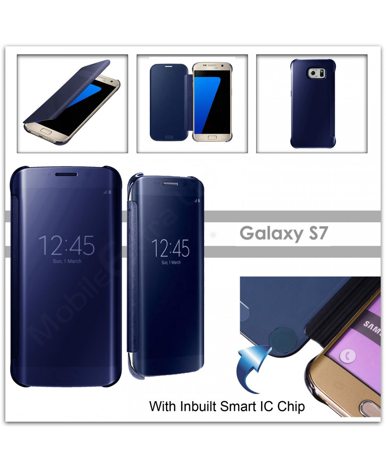 For Samsung Galaxy S7 SM-G930 Luxury DARK BLUE Smart Mirror