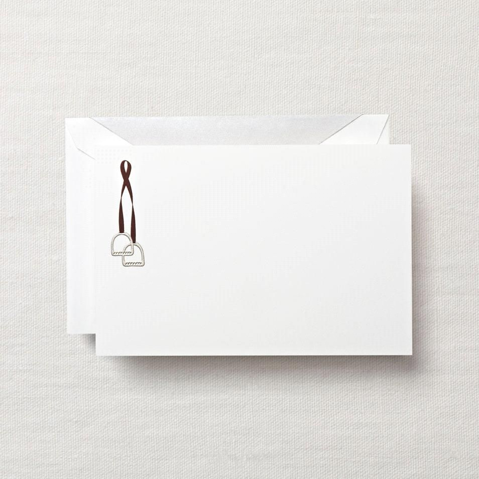 Hand Engraved Stirrups Correspondence Card: Mount up and let's ride. Put a delightful cantor in your correspondence with these engraved cards, perfect for the weekend equestrian in all of us.