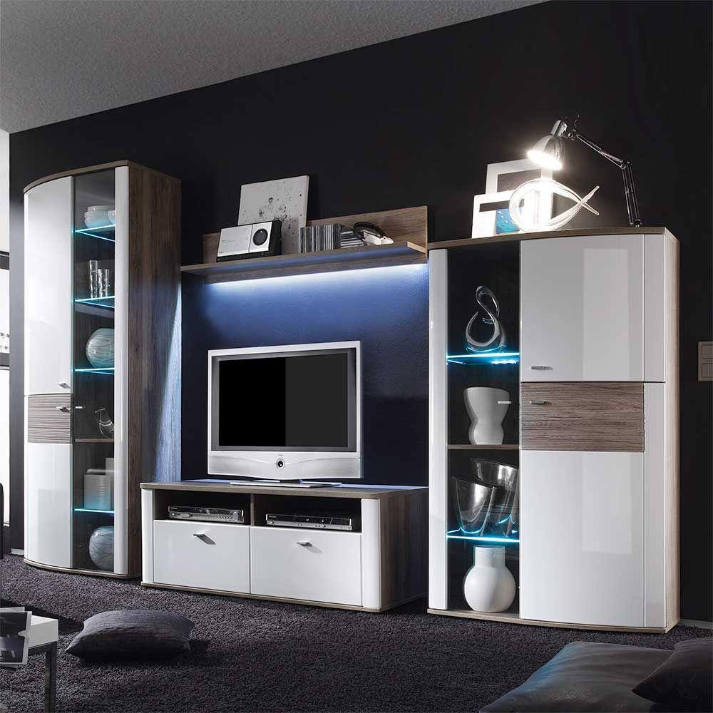 Wohnzimmer Wohnwand in Hochglanz Weiß Eiche dunkel (4-teilig) Jetzt ...