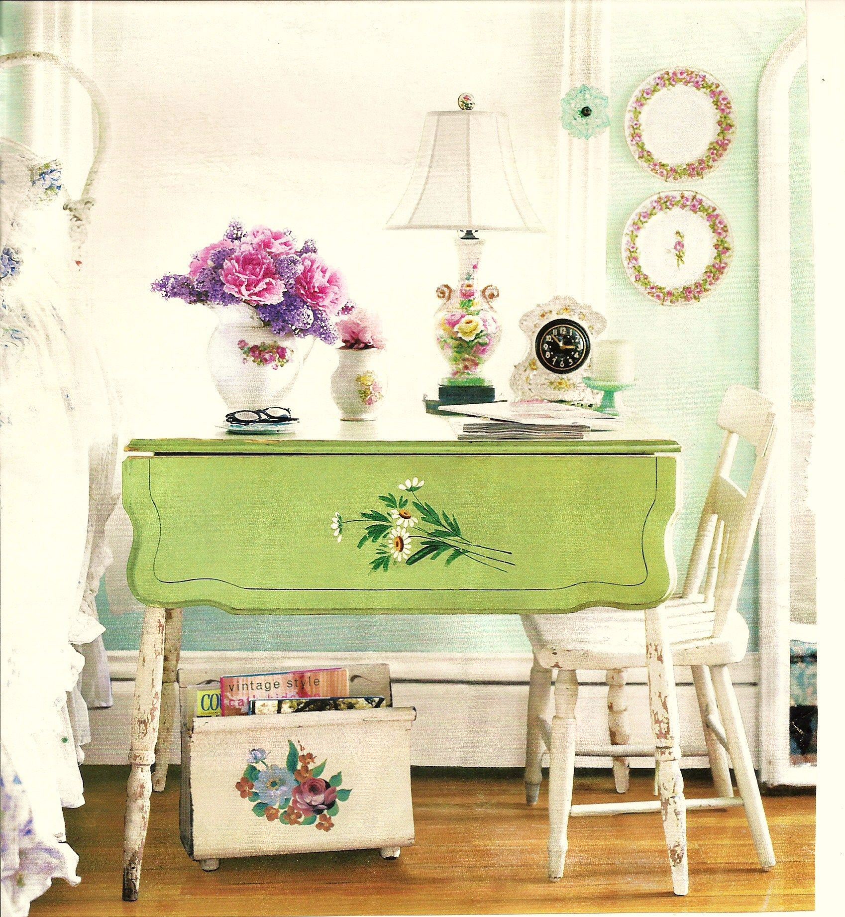 Love the old dining table used for a night table.  LOVE the colors!
