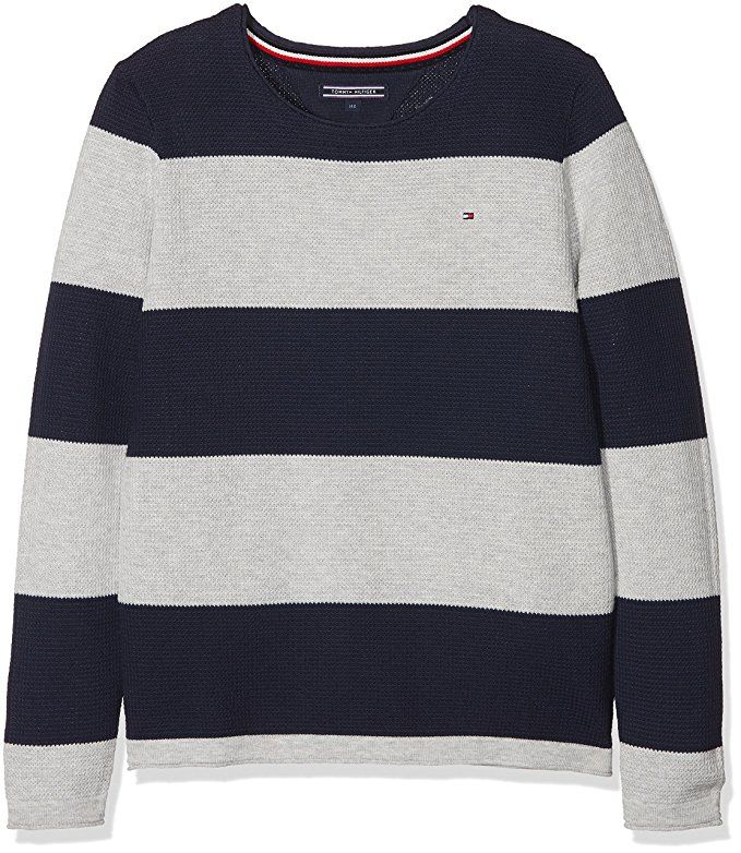 377add92 Tommy Hilfiger Boy's Preppy Stripe Cn Sweater Jumper, Black (Black Iris 002),  104