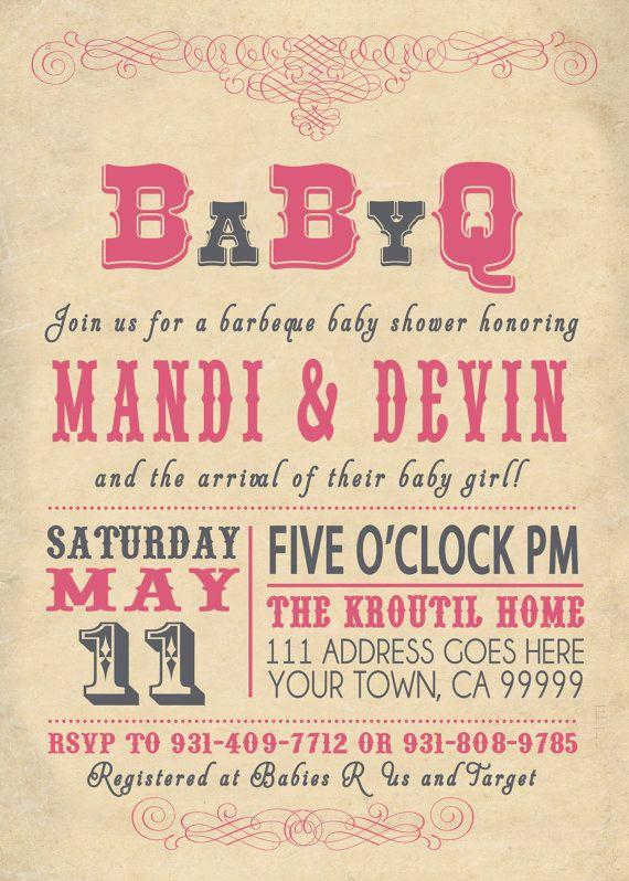 babyq bbq baby shower invitation vintage couples | vintage couples, Baby shower invitations