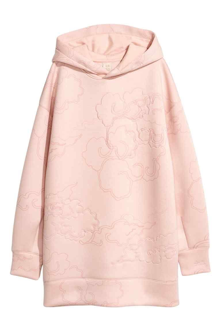 4fb62b0884e1 Sweat-shirt à capuche - Rose poudré motif - FEMME