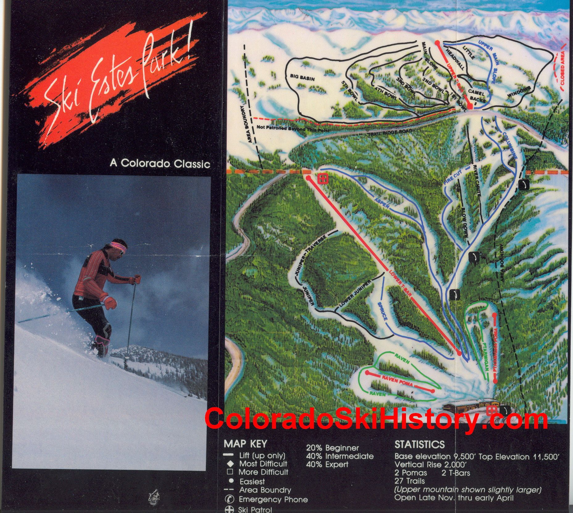 Classic 1990 Trail Map Of The Hidden Valley Ski Area In Estes Park Colorado The Resort Was Actually Rocky Mountain National Park Ski Area State Of Colorado