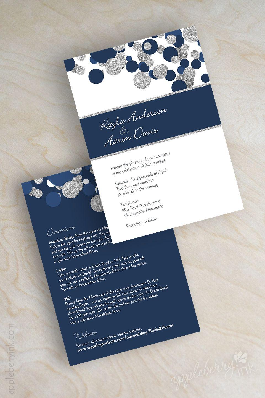 Navy blue and silver glitter polka dot wedding invitations midnight blue sparkle wedding invitation shimmer wedding invites kendall