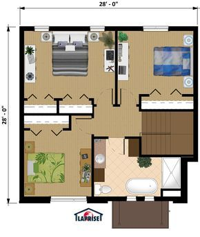 plan de maison 28 x 28