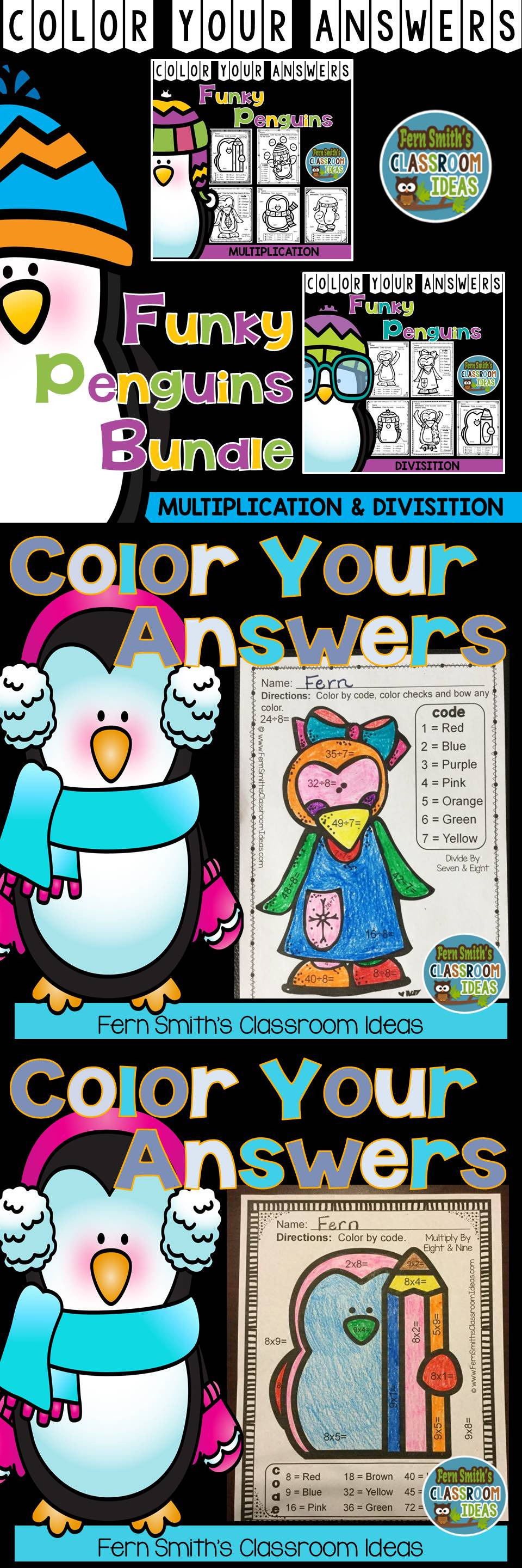 Color By Numbers Winter Math Funky Penguin Multiplication and ...